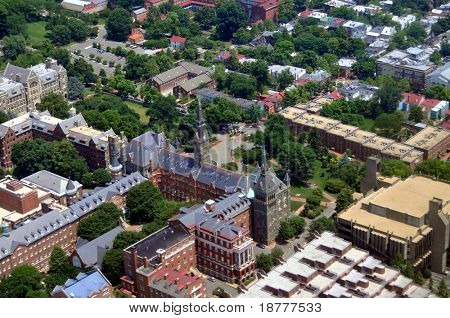 Aerial of Georgetown University in Washington DC.