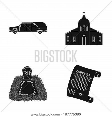 Black cadillac to transport the grave of the deceased, a church for a funeral ceremony, a grave with a tombstone, a death certificate. Funeral ceremony set collection icons in black style vector symbol stock illustration .