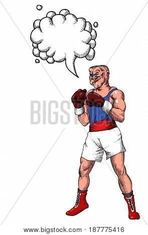 Cartoon image of boxer. An artistic freehand picture. With speech bubble.