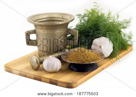 Composition Of Spices, Indian Masala, Dill, Garlic, Vintage Spice Grinder Isolated On White Backgrou