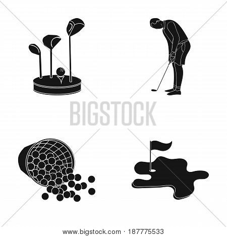Stand for a golf club, muzhchin playing with a club, basket with balls, label with a flag on the golf course. Golf Club set collection icons in black style vector symbol stock illustration .