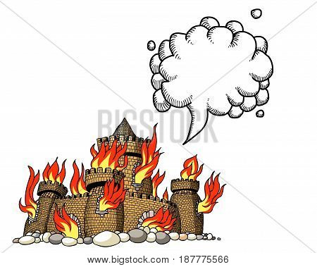 Cartoon image of burning castle. An artistic freehand picture. With speech bubble.