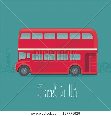 London, Britain double-decker red bus vector illustration. Clipart of traditional transportation in England