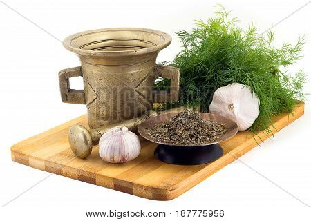 Composition Of Spices, Basil, Dill, Garlic, Vintage Spice Grinder Isolated On White Background