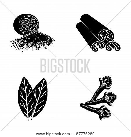 Nutmeg, cinnamon, bay leaves, cloves.Herbs and spices set collection icons in black style vector symbol stock illustration .