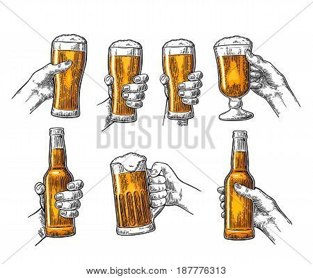 Man and woman hands holding and clinking with beer glass and open beer bottle. Vintage vector color engraving illustration for web poster invitation to party. Isolated on white background.