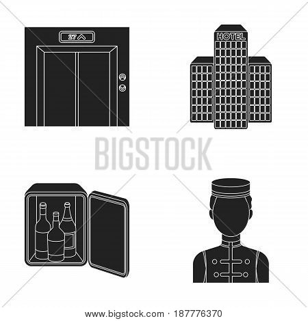 Elevator car, mini bar, staff, building.Hotel set collection icons in black style vector symbol stock illustration .