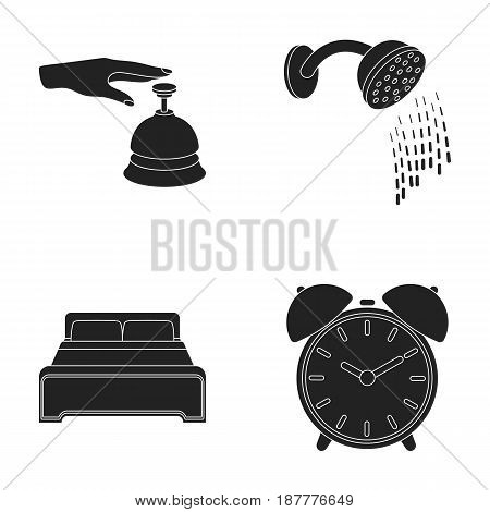Call at the reception, alarm clock, bed, shower.Hotel set collection icons in black style vector symbol stock illustration .