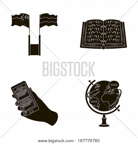 Two flags, a book for the blind, a hand with a phone with translated text, a globe of the Earth. Interpreter and translator set collection icons in black style vector symbol stock illustration .