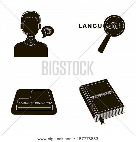A translator in headphones, a magnifying glass showing translation, a button with an inscription, a book with a bookmark. Interpreter and translator set collection icons in black style vector symbol stock illustration .