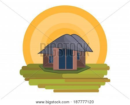 Mountain Side Summer Landscape With House and Shiny sun in Flat Design. Vector Illustration.