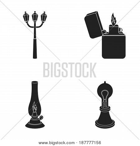 Street lamp, lighter, kerosene lamp, lamp of Edison.Light source set collection icons in black style vector symbol stock illustration .