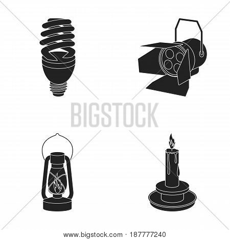 Economy lamp, searchlight, kerosene lamp, candle.Light source set collection icons in black style vector symbol stock illustration .
