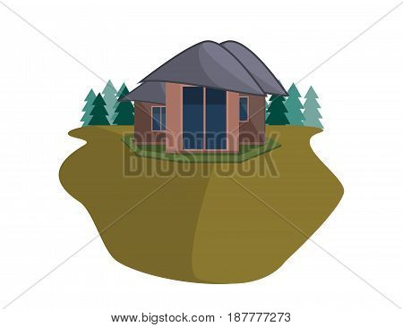 Mountain Side Summer Landscape With House and Woods in Flat Design. Vector Illustration.