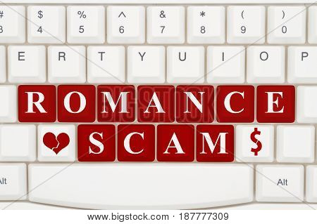 Dating scams on the internet A close-up of a keyboard with red highlighted text Romance Scam 3D Illustration