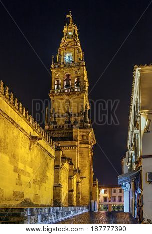 Bell tower of Mosque Cathedral of Cordoba Spain in evening