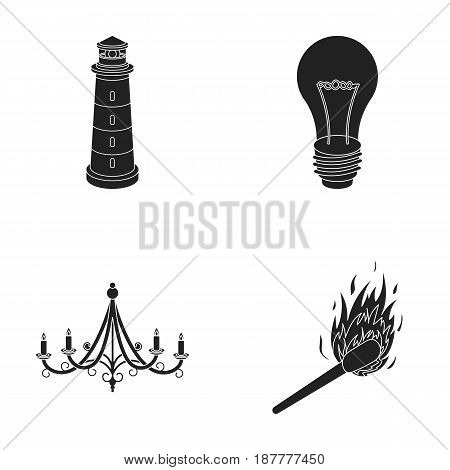 A lighthouse, an incandescent lamp, a chandelier with candles, a burning match.Light source set collection icons in black style vector symbol stock illustration .