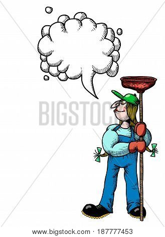 Cartoon image of female plumber. An artistic freehand picture. With speech bubble.