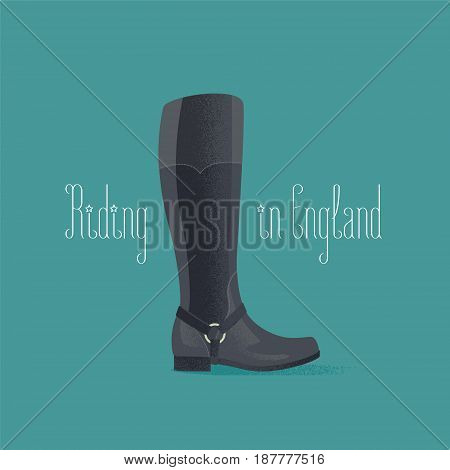 Hourse riding boots vector illustration. Travel to UK, England design element, clipart