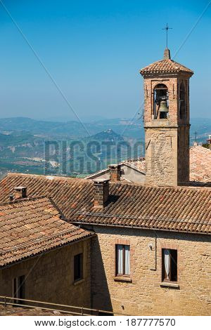 Old architecture with tower of San Marino, Europe