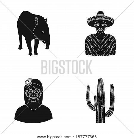 Tapir Mexican animal, a Mexican in national clothes in a poncho, a woman with a flower, a cactus. Mexico country set collection icons in black style vector symbol stock illustration .