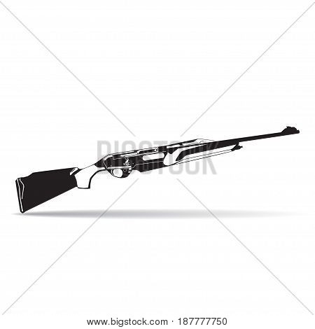 Vector illustration of hunting rifle isolated on white background. Black and white flat style design