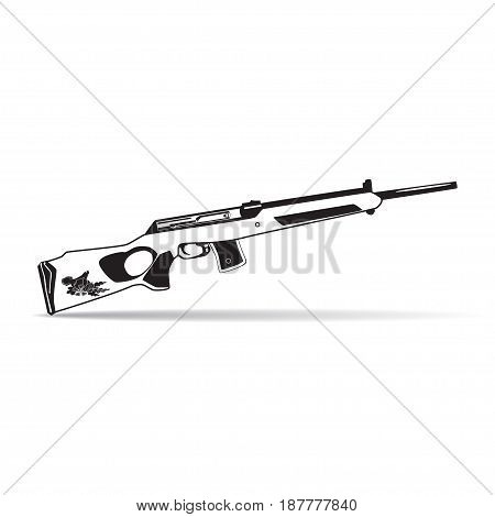 Vector illustration of hunting rifle isolated on white background. Black and white flat style design.