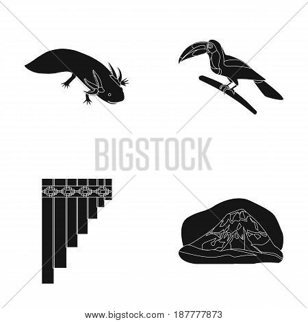 Sampono Mexican musical instrument, a bird with a long beak, Orizaba is the highest mountain in Mexico, axolotl is a rare animal. Mexico country set collection icons in black style vector symbol stock illustration .