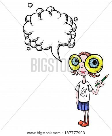 Cartoon image of geeky girl. An artistic freehand picture. With speech bubble.