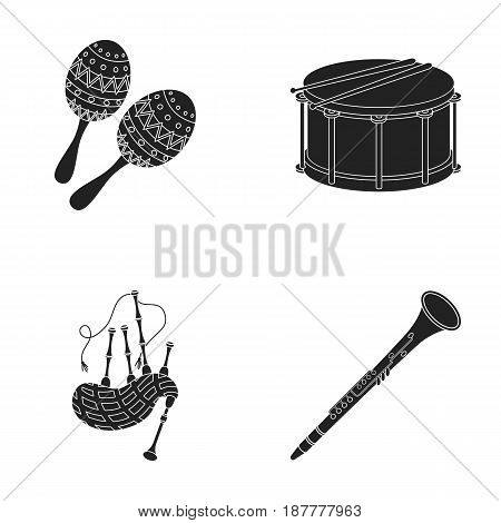 Maracas, drum, Scottish bagpipes, clarinet. Musical instruments set collection icons in black style vector symbol stock illustration .