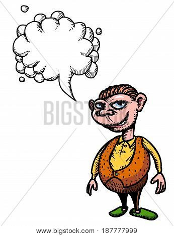 Cartoon image of grinning man. An artistic freehand picture. With speech bubble.