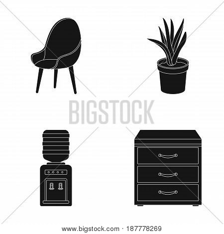A red chair with a comfortable back, an aloe flower in a pot, an apparatus with clean water, a cabinet for office papers. Office Furniture set collection icons in black style vector symbol stock illustration .