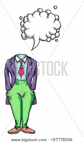 Cartoon image of headless man. An artistic freehand picture. With speech bubble.