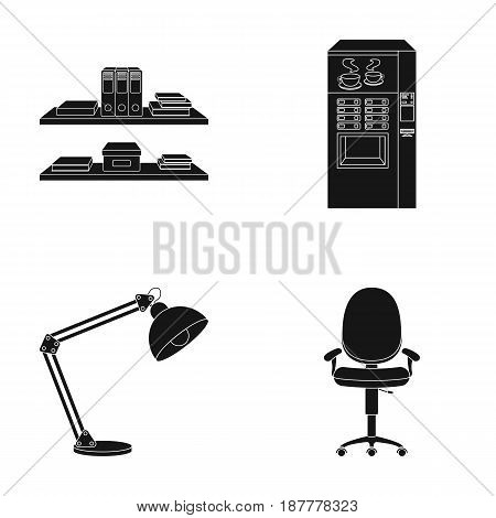 Shelves, folders and notebooks with business records, a coffee machine with cups, an armchair with a backrest on wheels, a desk lamp. Office Furniture set collection icons in black style vector symbol stock illustration .