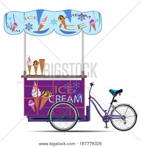 Vector illustration of tricycles ice cream bike isolated on white background. Mobile ice cream bike business template in flat style.