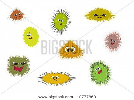 Cartoon depicting bugs, germs and viruses. Available in portfolio as vector or .jpg
