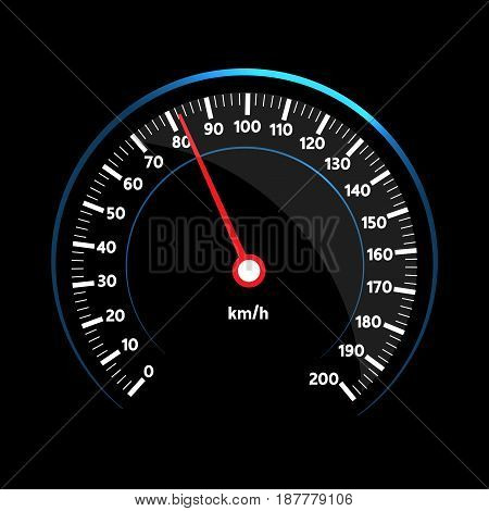 Vector speedometer design on black background .