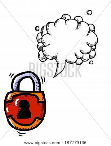 Cartoon image of Lock Icon. Lock symbol. An artistic freehand picture. With speech bubble.