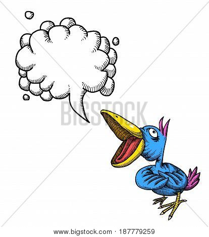 Cartoon image of singing bird. An artistic freehand picture. With speech bubble.