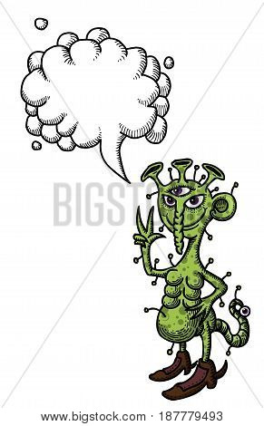 Cartoon image of space alien. An artistic freehand picture. With speech bubble.