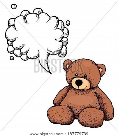 Cartoon image of teddy bear. An artistic freehand picture. With speech bubble.