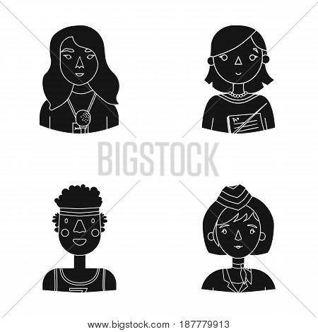A journalist with a microphone with a badge, a teacher with a pointer in beads, a stewardess in a pilot's cap, an athlete with a bandage on her head.People of different professions set collection icons in black style vector symbol stock illustration .