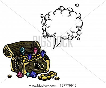 Cartoon image of treasure chest. An artistic freehand picture. With speech bubble.