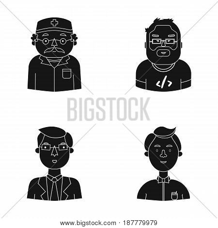 Doctor in a dressing-gown with a red cross on his head, a hacker with a beard in a T-shirt and glasses, a businessman in a tie, a waiter in a gastronome, a butterfly. People of different professions set collection icons in black style vector symbol stock