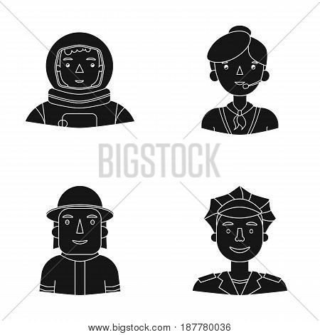 An astronaut in a spacesuit, a co-worker with a microphone, a fireman in a helmet, a policeman with a badge on his cap. People of different professions set collection icons in black style vector symbol stock illustration .