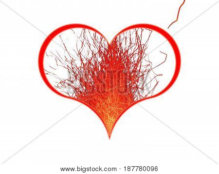 Symbol of the heart and bright sparks on a white background