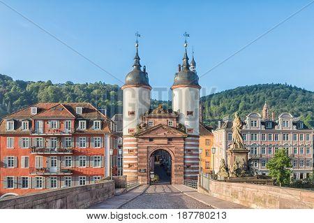 Old Bridge Gate on Karl Theodor Bridge in Heidelberg Baden-Wurttemberg Germany