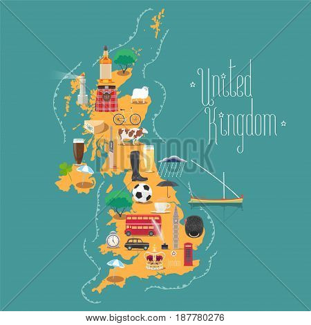 Map of United Kingdom, Great Britain with Scotland and Ireland vector illustration, design. Icons with British landmarks, Big Ben and beer. Explore Britain concept image
