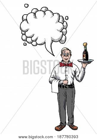 Cartoon image of waiter. An artistic freehand picture. With speech bubble.