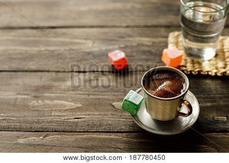 Turkish black coffee with Turkish delight lokum